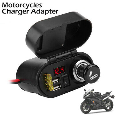 12V/24V Dual USB Motorcycle Charger Power Adapter Socket&Voltmeter Waterproof UK • 10.99£