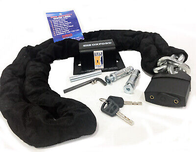 Oxford Brute Force Sold Secure Motorcycle Ground Anchor + Grid Chain Lock 1.8m • 39.99£