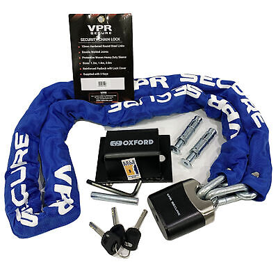 Oxford Motorcycle Brute-force Ground Anchor+ Sabre 1.2m Chain And Padlock+dlr • 38.99£