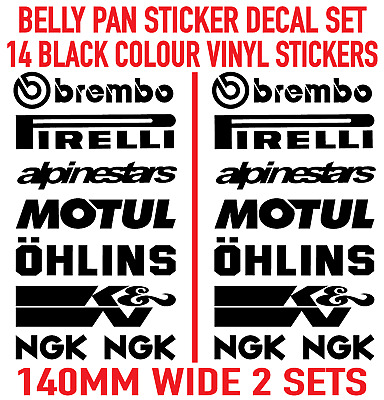 Motorbike Belly Pan Fairing Decals Stickers BLACK Colour SET OF 14 STICKERS • 5.99£