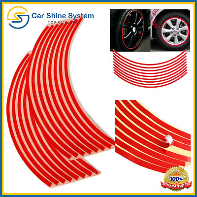 Motorbike Car Reflective Wheel Rim Trim Tape Sticker Up To 18  Red Pack Of 16 UK • 3.25£