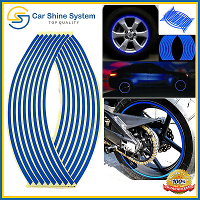 Motorbike Car Reflective Wheel Rim Trim Tape Sticker Up To 18  Blue Pack Of 16  • 3.25£