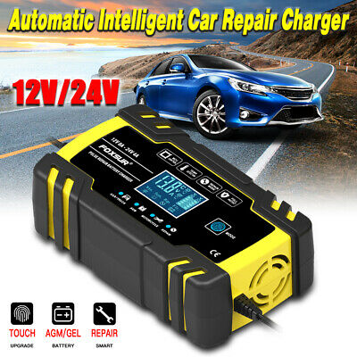 Automatic Intelligent Car Battery Charger Pulse Repair Starter 12V/24V AGM/GEL • 21.98£