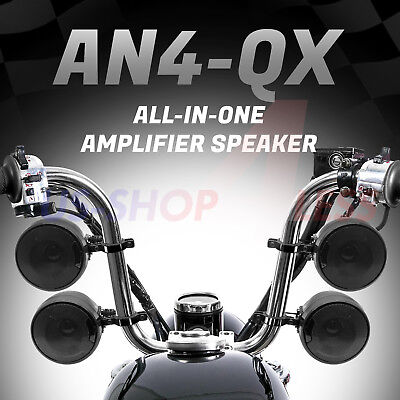 1200W AMP Bluetooth Waterproof Motorcycle Stereo 4 Speaker Audio MP3 System AUX • 112.36£