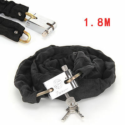 1.8M Security Sturdy Motorbike Motorcycle Bicycle Heavy Duty Chain Lock Padlock • 8.29£