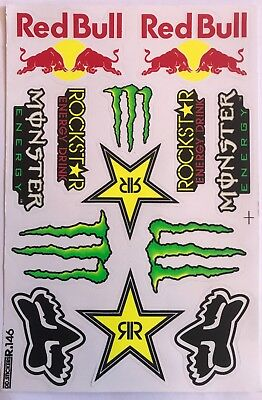 13 Rockstar Energy Drink Stickers Dirt Pit Bike MTB Motocross Helmet BMX Quad • 4.25£