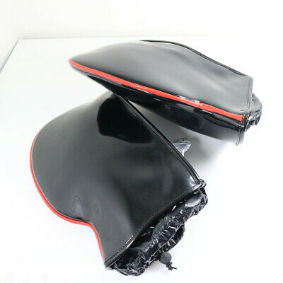 Faux Leather Black Waterproof Motorcycle MotorBike Handle Cover Muffs Gloves • 28£