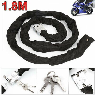 1.8M Metal Motorbike Motorcycle Bicycle Heavy Duty Chain Lock Padlock Bike Cycle • 8.49£