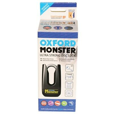 Oxford Motorcycle Padlock Monster Black Disc Lock OF32M Ultra Strong -OF32M • 66.39£