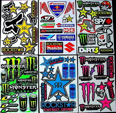 6 SHEETS STICKERS Mx ROCKSTAR BMX QUAD MOTOCROSS DECAL PIT ENERGY BIKE BSW • 7.98£