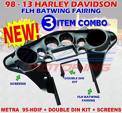 95-hdif 1998 - 2013 Harley Davidson Flh Batwing Fairing Double Din Metra Install • 425.62£