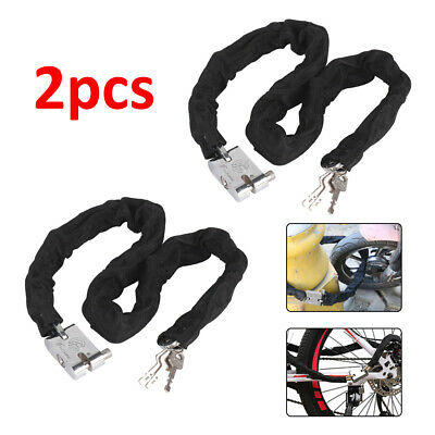 2pcs 0.85M Metal Motorbike Motorcycle Bicycle Heavy Duty Chain Lock Padlock Bike • 7.99£