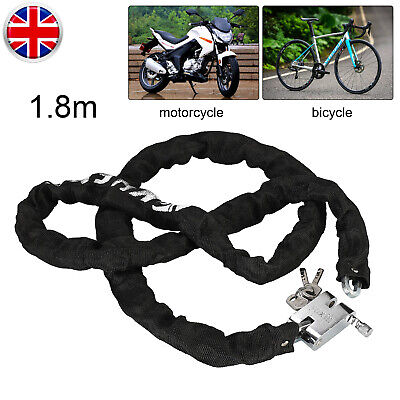 Heavy Duty Strong Motorcycle Motorbike Bike Security Chain And Padlock Lock • 10.99£