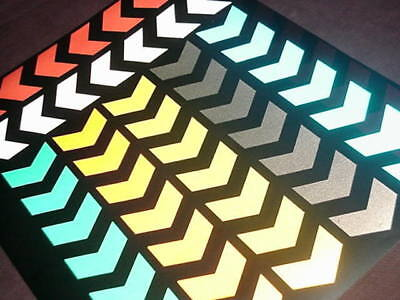 48  Reflective CHEVRON Stickers * 7 Colours Available * Available In BLACK • 5.99£