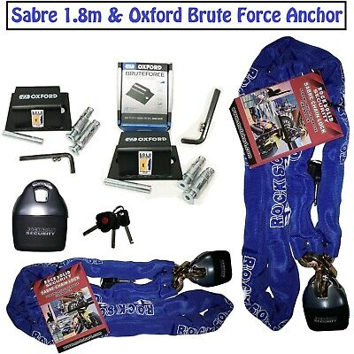SABRE CHAIN LOCK 1.8m MOTORBIKE QUAD OXFORD GROUND ANCHOR SOLD SECURE • 44.99£