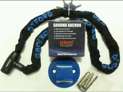 GRID GROUND ANCHOR OXFORD GP 1.5m CHAIN LOCK MOTORBIKE MOTORCYCLE SECURITY NEW • 34.98£