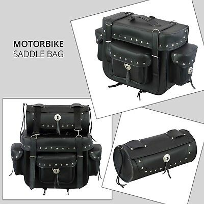 New Motorbike Motorcycle PU Leather Saddle Bag Pannier Sissy Bar Tool Roll Box  • 69.99£