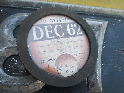 Tax Disc Holder 1960 -1970 Including Disc For December 1962 B.s.a. Motorcycle • 9.95£