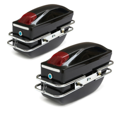 Universal Hard Case Side Pannier Boxes-Glossy Red -Motorcycles-Cruiser-2x 24L • 44.99£