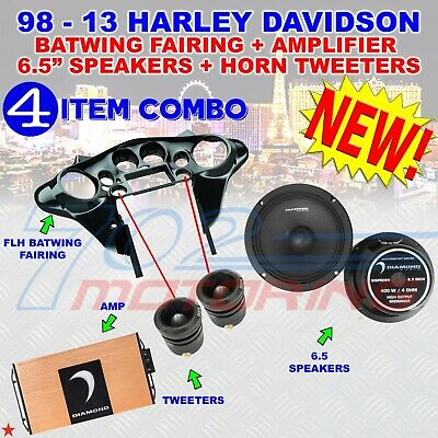 95-hdif-np 98-13 Flh Batwing Fairing + Mspro65 Spkers + Mspro1st Horn + Micro2v2 • 874.09£