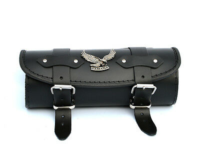 Y) Black Leather Pouch Tool Roll Bag Yamaha Dragstar Xvs 650 1100 1300 Xv 1600 • 39.95£