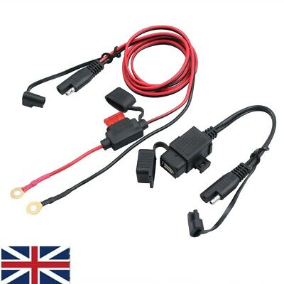 USB Charger For Motorcycle Motorbike SAE To USB Cable Adapter Phone GPS Tablets • 8.89£