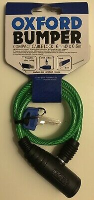 Oxford Bumper Cable Lock - Green - 600x6mm Motorcycle Helmet Lock • 6.89£