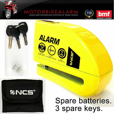NCS MOTORCYCLE Motorbike Disc Lock ALARM Yellow Jaws.  New Key. Carry Pouch • 1,014.99£