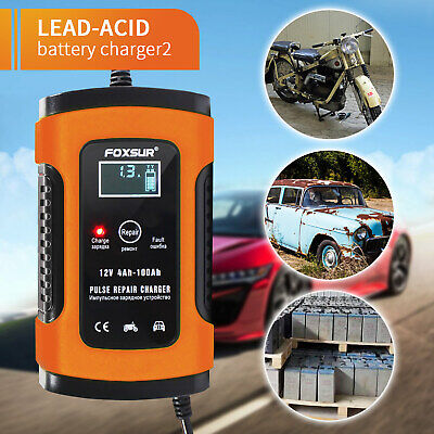 Intelligent 12VMotorcycle Motorbike Car Battery Charger Automatic Smart Trickle • 11.29£