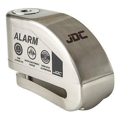 JDC MOTORCYCLE Motorbike Disc Lock ALARM - JAWS - Brushed Metal • 17.99£