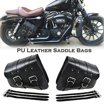 2Pcs Motorcycle Saddle Bags Side Storage For Harley Sportster XL883 XL1200 Black • 21.99£