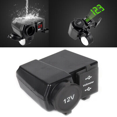 12V Waterproof Motorcycle Dual USB Charger Cigarette Lighter Socket Motorbike • 7.19£