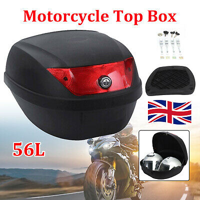 Universal 56L 2 Helmets Motorcycle Top Box Rear Luggage Storage Back Case New • 27.99£