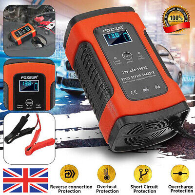 12V Automatic Electronic Motorcycle Car Battery Charger Fast/Trickle/Pulse Modes • 15.77£