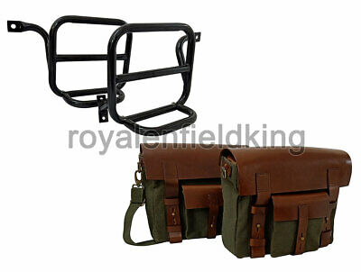 Classic 500cc Royal Enfield  Leather & Canvas Bag With Fitting Frame Olive Color • 144.88£