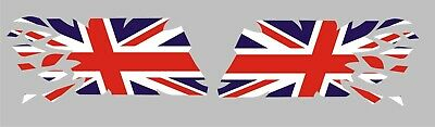 2x RIPPING TEARING UNION JACK FLAG DECALS / STICKERS / GRAPHICS • 8£