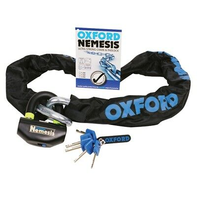 Oxford Nemesis Ultra Strong Chain & Lock SOLD SECURE Motorcycle Bike 16mm X 2M • 142£
