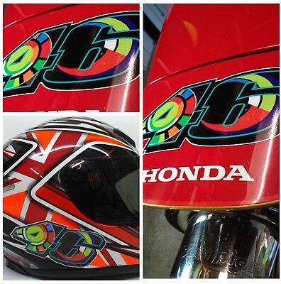 Valentino Rossi 46 Stickers Sun Moon (x2) Vinyl Bike Car Helmet 120mm X 55mm 013 • 3.49£