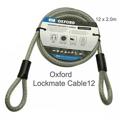 Oxford Lockmate Marine Proof Security Cable. Protective Vinyl Casing. 2m X 12mm. • 12.99£