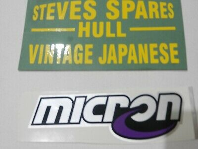 MOTORCYCLE DECALS, MED, MICRON , Exhaust Sticker,  FOIL TYPE ,150mm X 45mm X32mm • 10£