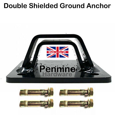 BLACK Steel DOUBLE SHIELDED CHAIN Ground Wall ANCHOR NO FIXINGS Made In England • 12.95£