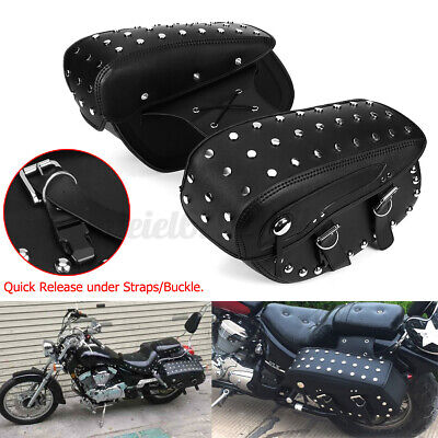 Motorcycle Side Pouch Leather Saddlebags Saddle 2 Bags Panniers Black  • 48.52£