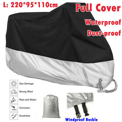 Large Waterproof Motorcycle Cover Scooter Bike Outdoor Rain Dust UV Protector UK • 9.79£