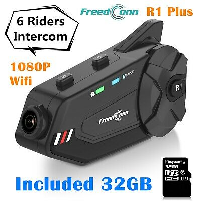 R1 Plus 1000m 6 Rider Motorcycle Helmet Intercom DVR Recording Headset FM Radio • 85.99£