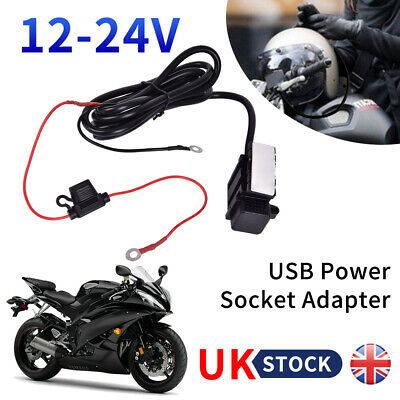 USB Port Motorcycle Motorbike Charger Power Adapter Socket Waterproof 12/24V UK • 8.39£