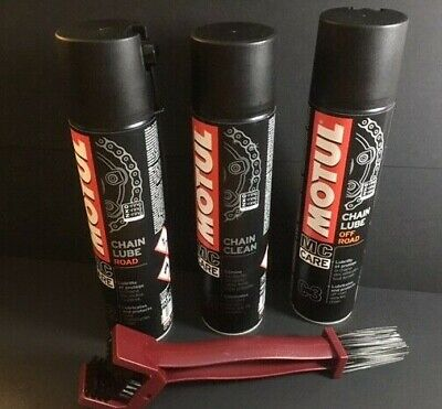 Motul Chain Cleaner + On And Off Road Chain Lube + Professional Chain Brush Pack • 19.95£