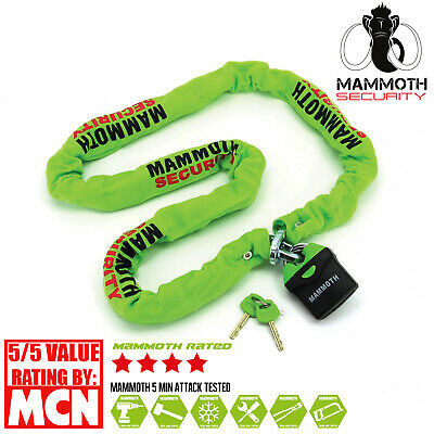 Mammoth Security Heavy Duty Motorcycle Chain And Padlock 1.8m Security Lock • 42.95£