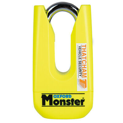 OXFORD Monster Yellow Disc Lock OF36M Ultra Strong Motorcycle Thatcham Padlock T • 74.99£
