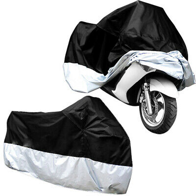 XL Large Motorcycle Waterproof Outdoor Motorbike Rain Bike Cover Black Silver • 10.99£