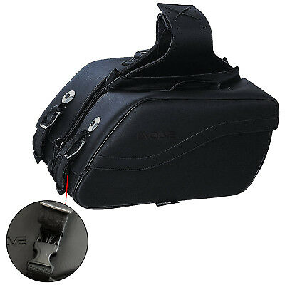 Faux Leather Heritage Custom Switch Back Motorcycle Pannier 16x10x6in Black • 48.99£